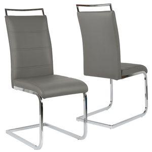 2tlg Esszimmerstuhl Set Freischwinger Stuhl Stühle Set Polsterstuhl Schwingstuhl Grau