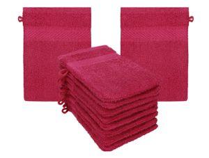 Betz 10 Stück Waschhandschuhe PALERMO 100%Baumwolle Waschlappen Set Größe 16x21 cm Farbe - cranberry