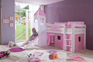Relita - Halbhohes Spielbett Alex mit Rutsche/Turm Buche massiv weiß lackiert mit Stoffset rosa/weiß herz