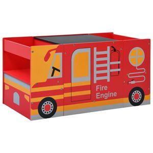 SIRUITON 3-tlg. Kindertisch- und Stuhl-Set Feuerwehrauto-Design Holz