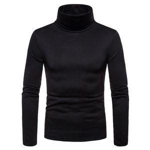 Herren Slim Poloshirt Stretch Rollkragen Unterteil Rollkragen Pullover Pullover Top Langarm,Farbe: Schwarz,Größe:L