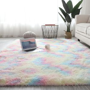 Regenbogen Übergroße Flauschige Teppiche 120*160cm Shaggy Area Rug Esszimmer Schlafzimmer Teppich Bodenmatte