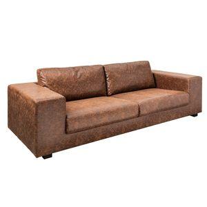 Großes Design 3-Sitzer Sofa MR LOUNGER 220cm vintage braun mit Federkern 3er Couch