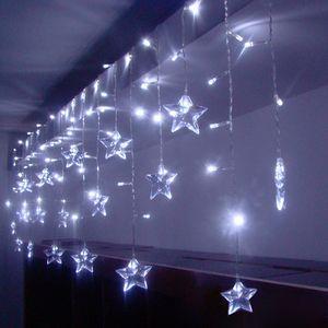 3.5m 96LED Stern Lichterkette Lichtervorhang Party Weihnachten Deko Weihnachtslichter, Kaltweiß