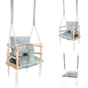 Babyschaukel Kinderschaukel Holz Stoff  Babysitz Baby Schaukel zum Aufhängen 3 in 1 Rosa Grau 8336 , Farbe:Grau-grey