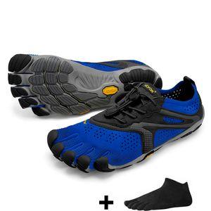 Vibram FiveFingers V-Run Men + Zehensocke, Size:40, Color:Blue/Black