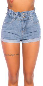 High Waist Jeans Hotpants mit Paperbag-Bund, Farbe: Hellblau, Größe: XS