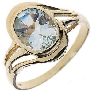 JOBO Damen Ring 585 Gold Gelbgold 1 Aquamarin Goldring Größe 60