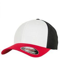 3-Tone Flexfit Cap - Farbe: Red/White/Black - Größe: S/M