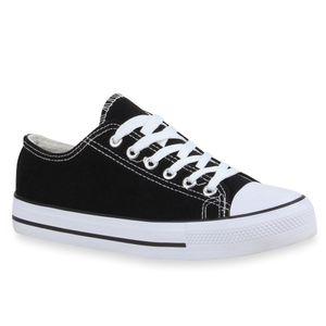 Mytrendshoe Damen Sneakers Sportschuhe 97316 Freizeit Stoffschuhe, Farbe: Schwarz, Größe: 39