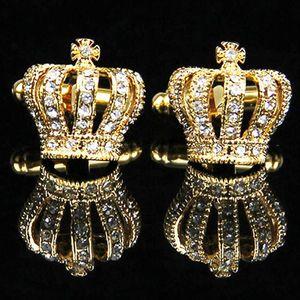 Vintage Krone Manschettenknöpfe Kristall Manschettenknöpfe Hochzeit Shirt Suit Button Gold 16 x 15mm