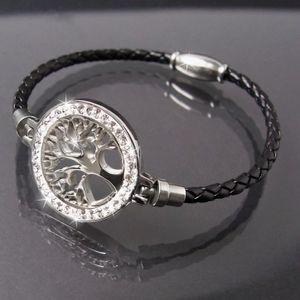 Armband Leder schwarz Edelstahl Lebensbaum silber Strass Damen A77703