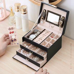Schmuckkästchen, Schmuckkoffer Schmuckkasten mit 3 Ebenen, Kunstleder,  Schmuckkiste für Uhren, Ringe und Ketten,Schwarz