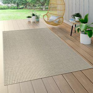 In- & Outdoor Flachgewebe Teppich Sisal Optik Natürlicher Look Einfarbig Creme, Grösse:120x170 cm