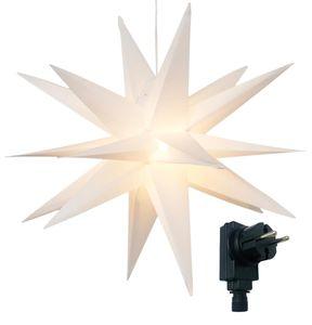 3D Leuchtstern mit warm-weißer LED Beleuchtung und Timer, für Innen und Außen geeignet, Weihnachtsstern - Außenstern, hängend / 7,5 m Zuleitung (Weiß)