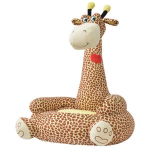 vidaXL Plüsch-Kindersessel Giraffe Braun