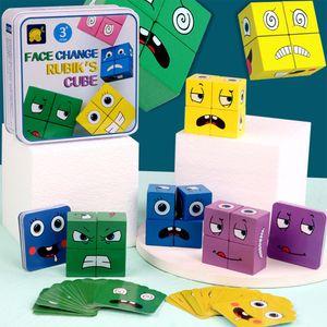 Holz Bunte Bausteine Kreative Spielzeug ändern Würfel Puzzle Building Emoji