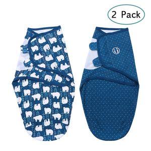Insular Baby Swaddle Wrap Blanket 2er Pack weiche Baumwolle Cartoon-Muster verstellbare Baby-Schlafdecken (Medium 3-4 Monate)【Eisbaer/M】