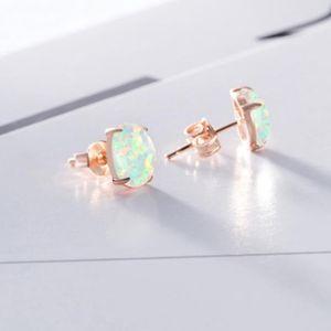 1 Paar Ohrstecker Weißer Opal Edelstein Ohrringe Rotgold Ohrstecker