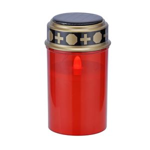 Heitronic Solar LED Grablicht Höhe 12,5 cm rot 1-flammig zylinderförmig
