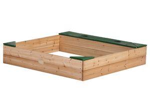 AXI Sandkasten Amy ausHolz mit Abdeckplane | Sand Kasten mit Abdeckung für Kinder mit Sitzbank, Sitzecken & Stauraum |  115 x 115 cm