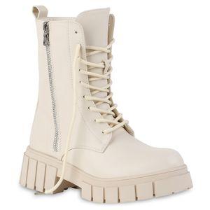 VAN HILL Damen Leicht Gefütterte Plateau Boots Stiefeletten Zipper Schuhe 837799, Farbe: Beige, Größe: 39