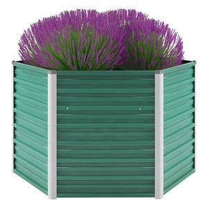 Garten-Hochbeet Verzinkter Stahl 129x129x77 cm Grün