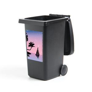 Mülltonnenaufkleber - Boot - Palmboom - Nacht - Zomer - 40x60 cm