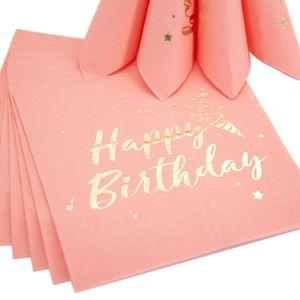 Oblique Unique 20 Happy Birthday Servietten Tischdeko für Geburtstag Party Kindergeburtstag rosa gold