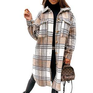 Lässiger Damenmantel mit geknöpftem Revers und langem Oberteil,Farbe: Khaki,Größe:M