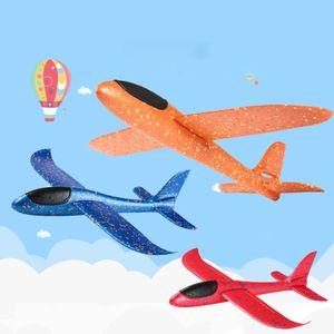 3  Stück 48cm  Kinder Segelflugzeug, Werfen Fliegen Modell, Styroporflieger Flugzeug Spielzeug Outdoor-Sportarten Spielzeug, Flugzeug -Orange+ Blau+ Rot