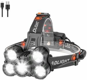 Stirnlampe ,Mit Ladegerät, 2000 Lumen 5 LED kopflampe, Superheller USB Wiederaufladbare Wasserdicht Stirnleuchte für Camping, Fischen, Laufen, Joggen, Wandern, Lesen, Arbeiten