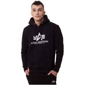 ALPHA INDUSTRIES Basic Hoody Herren Sweatshirt Pullover Sweater Schwarz, Größe:L