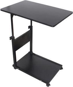 C-Form Beistelltisch Beweglicher Schreibtisch Höhenverstellbar Nachttisch mit Rollen (schwarz)