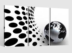 Leinwandbild 3 tlg   Karte Welt Erde Planet Kreise Weltkarte Landkarte  Bild Bilder Leinwand Leinwandbilder Holz Wandbild mehrteilig Kunstdruck fertig gerahmt 9AB464, 3 tlg BxH:90x60cm (3Stk  30x 60cm)