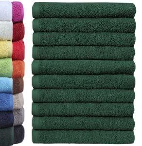 NatureMark 10er Pack Waschlappen | 100 % Baumwolle | Größe 30 x 30 cm | Dunkel grün