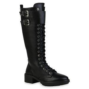 Mytrendshoe Damen Stiefel Leicht Gefütterte Schnürstiefel Schnallen Schuhe 835661, Farbe: Schwarz, Größe: 38