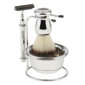 Männer Rasierset - Rasierständer mit Rasierhobel und Rasierpinsel, Rasierseifenschale