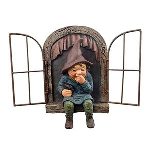 Zwerg Aus Dem Fenster Baumdeko-Gartendeko-Baumgesicht-Skulptur