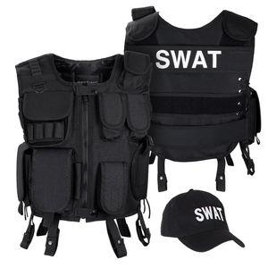 SWAT FBI SECURITY POLICE Agenten Kostüm Einsatzweste und Baseball Cap - XS/S - SWAT
