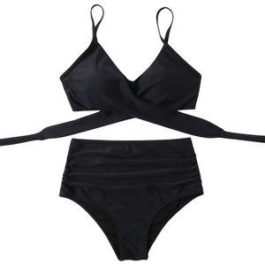 Supgaliy Frauen Bikini Badeanzug mit hoher Kreuz Tailleweiteiliges schwarz XL