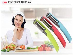 Küche ein 3-in-1-Schäler ein Gemüseschäler oder Kartoffelschäler oder Obstschäler mit Drehschäler und gezahntem Schäler und Julienne-Schäler mit Edelstahlklingen (zufällige Farbe)
