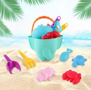 Weicher Kleber Sandspielzeug Set für Kinder und Kleinkinder, Strandspielzeug Enthält Sandschaufel und Eimer, Schildkröte Krokodil Wal Krabben Formen Wasserspielzeug für Badewanne, 7 Stück