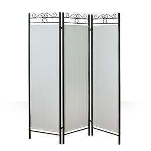 Homestyle4u 84, Metall Raumteiler Paravent 3 teilig Spanische Wand Trennwand Sichtschutz