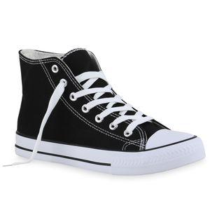 Mytrendshoe Damen Sneaker High Schnürer Bequeme Stoffschuhe Schuhe 835934, Farbe: Schwarz, Größe: 38