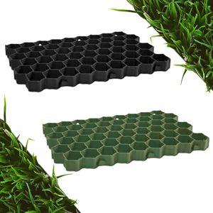 befahrbare Rasengitter Platten (60 x 40 x 4 cm, Farbe: grün) aus hochrobustem Kunststoff, zur Parkplatzbefestigung, Bodenstabilisierung, Rasenbefestigung, belastbar mit PKW bis zu 1000t/m²