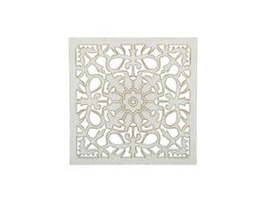 Wanddekoration Weiß und Grün 38 x 38 cm mit eleganten Ornamenten Quadratisch Orientalisch Vintage Retro Stil
