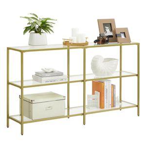 VASAGLE Konsolentisch Flurtisch 3 Ebenen Beistelltisch Ablagen aus Hartglas 130 x 30 x 73,3 cm Metallgestell modern für Flur Wohnzimmer Schlafzimmer goldfarben LGT024A01