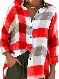 Langes, lässiges, kariertes, bedrucktes Langarmhemd für Frauen,Farbe: Rot,Größe:XXL