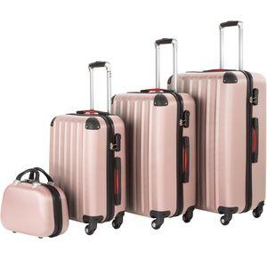 tectake Hartschalenkoffer und Beauty-Case Set 4-tlg. - roségold